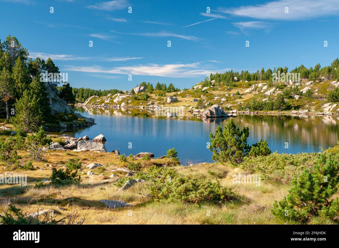 The 'etang sec' lake, part of the Bouillouses lakes, a natural site in the Capcir region, Catalan Pyrenees Regional Natural Park, Pyrenees-Orientales Stock Photo