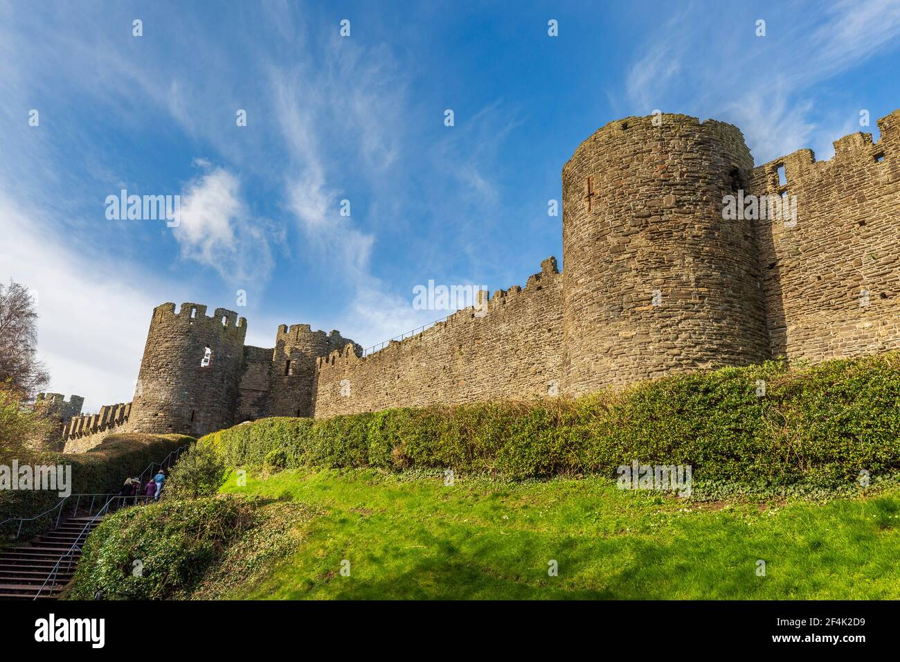 The castle walls surrounding the town of Conwy, Wales Stock Photo