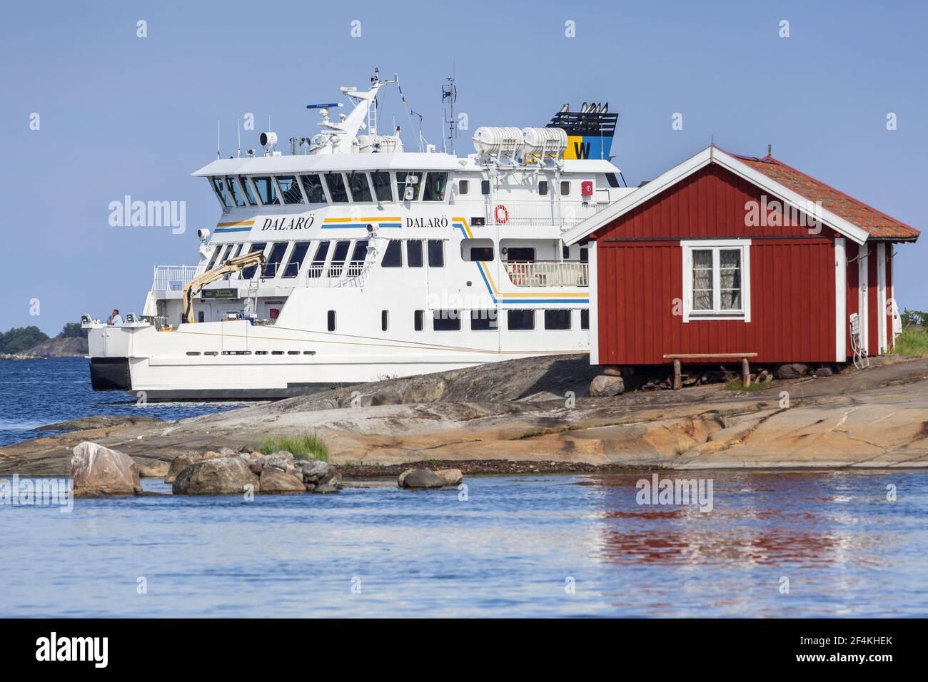 geography / travel, Sweden, Stockholm laen, Stockholm skårgården, ferry boat Vånoe near the entrance i, Additional-Rights-Clearance-Info-Not-Available Stock Photo