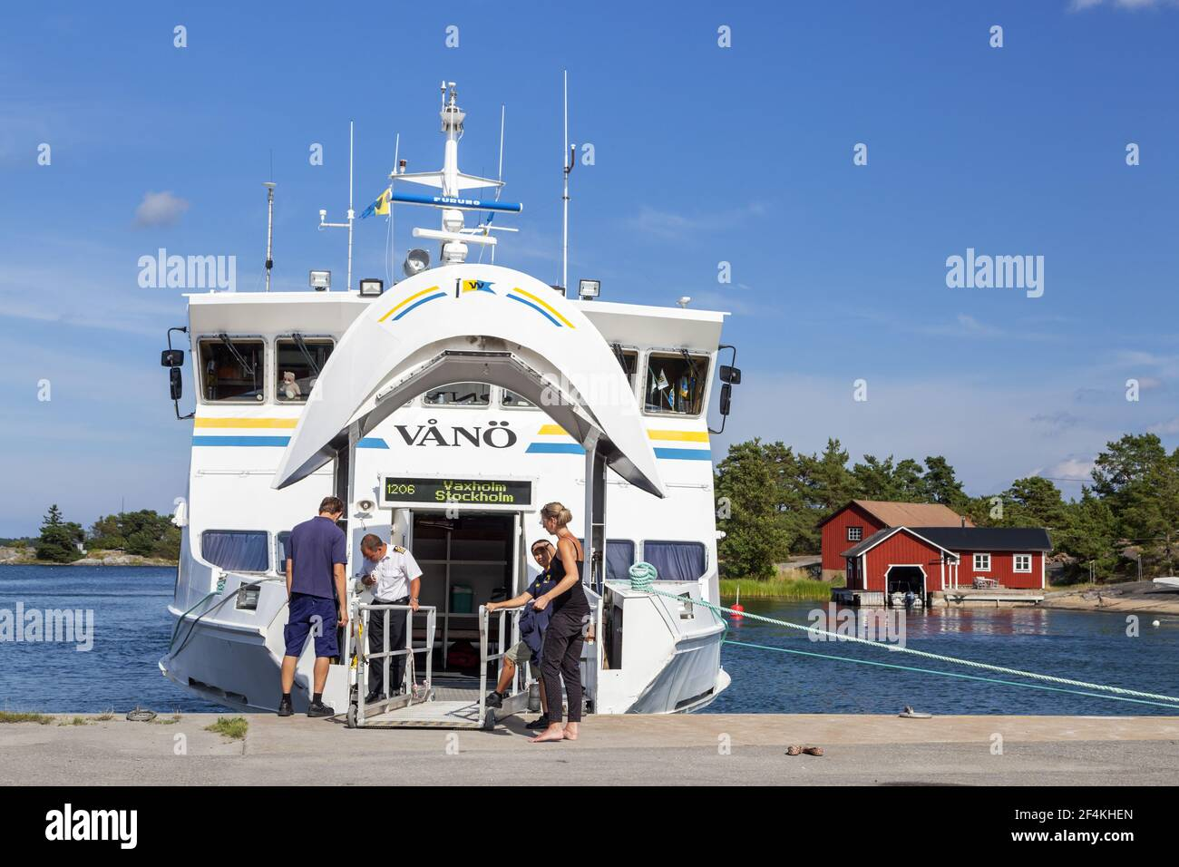 geography / travel, Sweden, Stockholm laen, Stockholm skårgården, ferry boat Vånoe in the harbour Lang, Additional-Rights-Clearance-Info-Not-Available Stock Photo