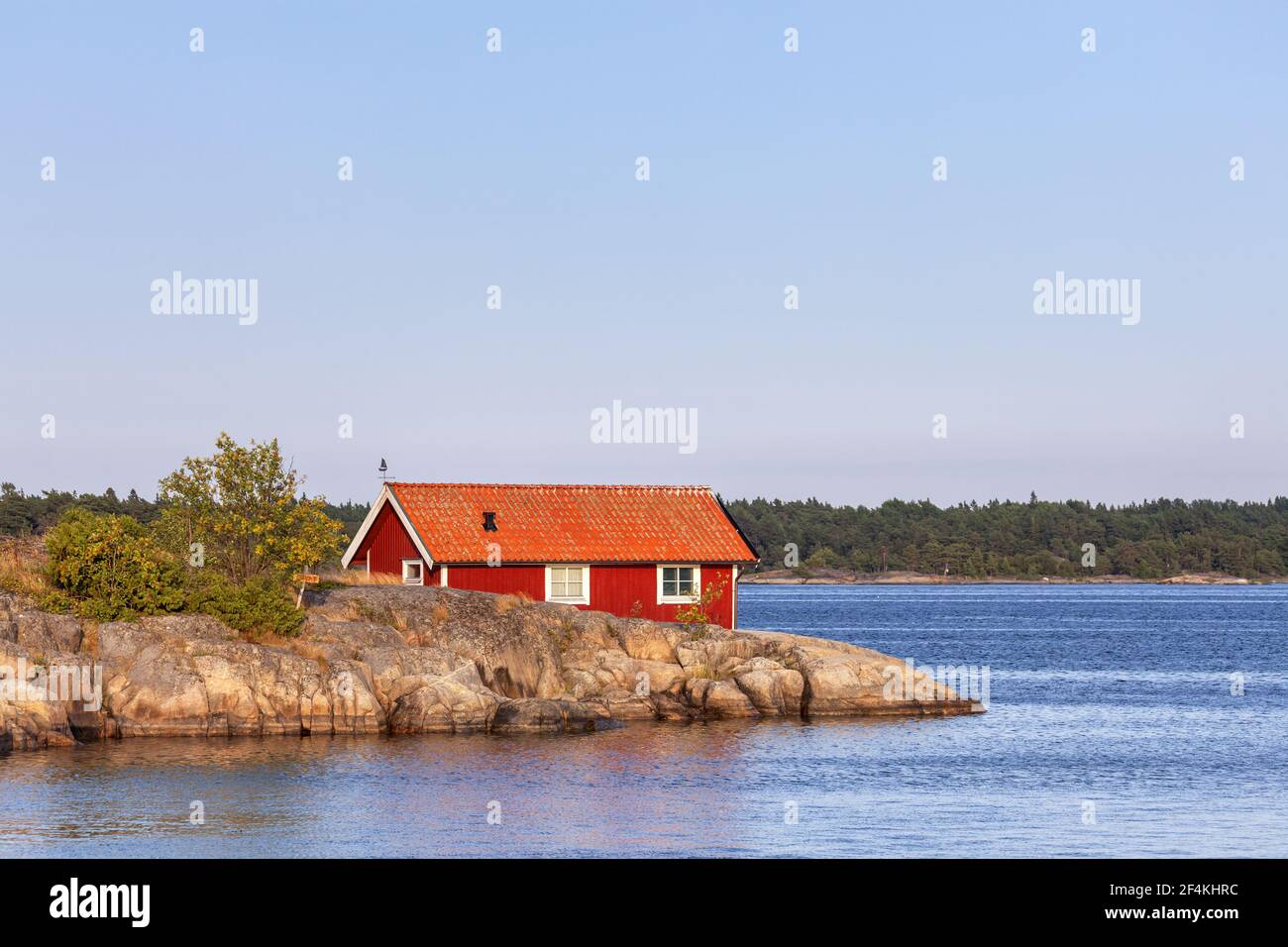 geography / travel, Sweden, Stockholm laen, Stockholm skårgården, house at sea on the isle Moeja in th, Additional-Rights-Clearance-Info-Not-Available Stock Photo