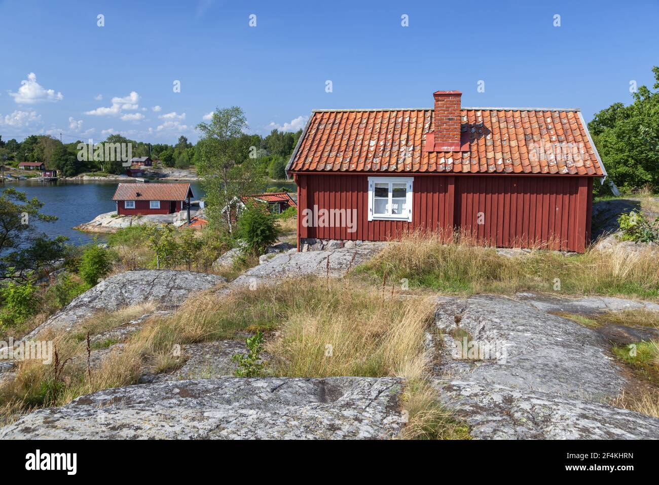 geography / travel, Sweden, Stockholm laen, Stockholm skårgården, houses on the isle Moeja in the of S, Additional-Rights-Clearance-Info-Not-Available Stock Photo