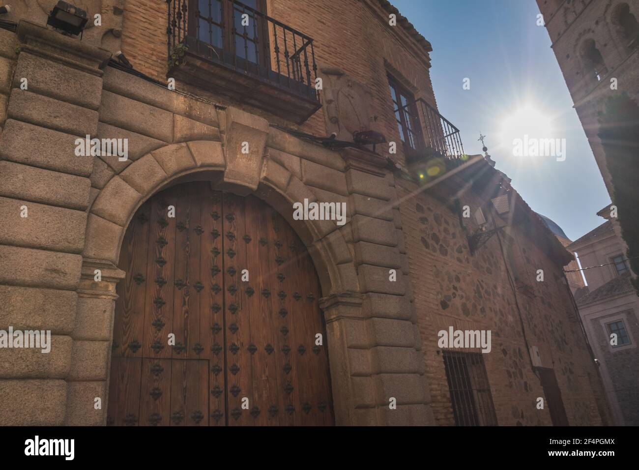 View of an old facade in the streets of Toledo Spain Stock Photo
