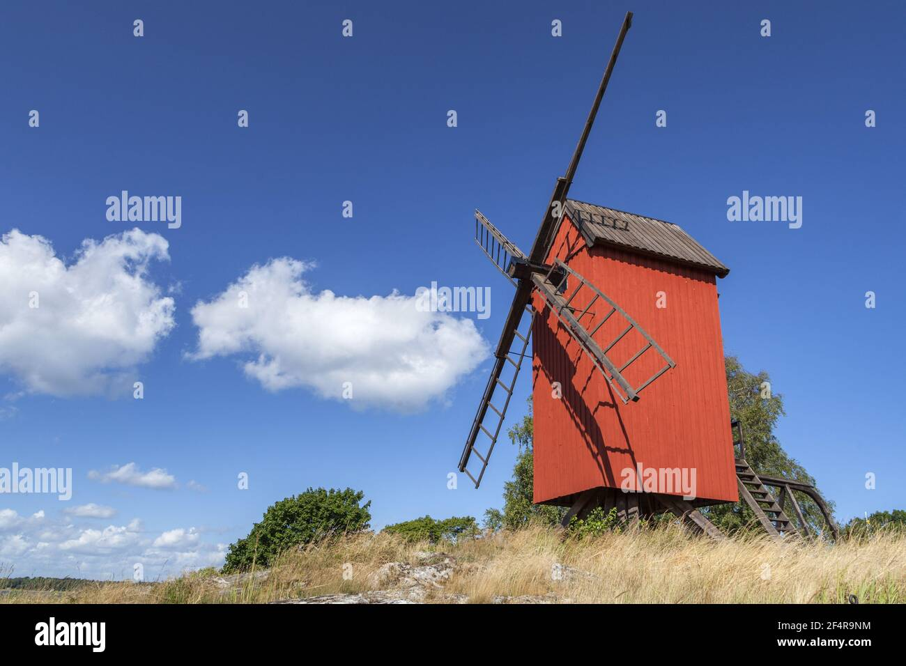 geography / travel, Sweden, Stockholm laen, isle Lidoe, red post mill on the isle Lidoe, Northern sker, Additional-Rights-Clearance-Info-Not-Available Stock Photo