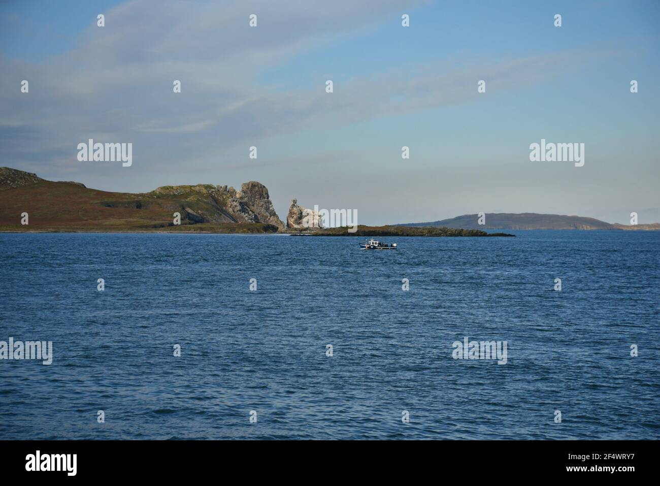 Landscape with scenic view of Ireland's Eye island as seen from the Port of Howth in County Leinster Dublin Ireland. Stock Photo