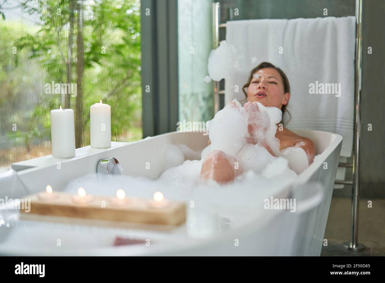 Home alone hot women Woman Bubble Bath Home Alone Relax High Resolution Stock Photography And Images Alamy