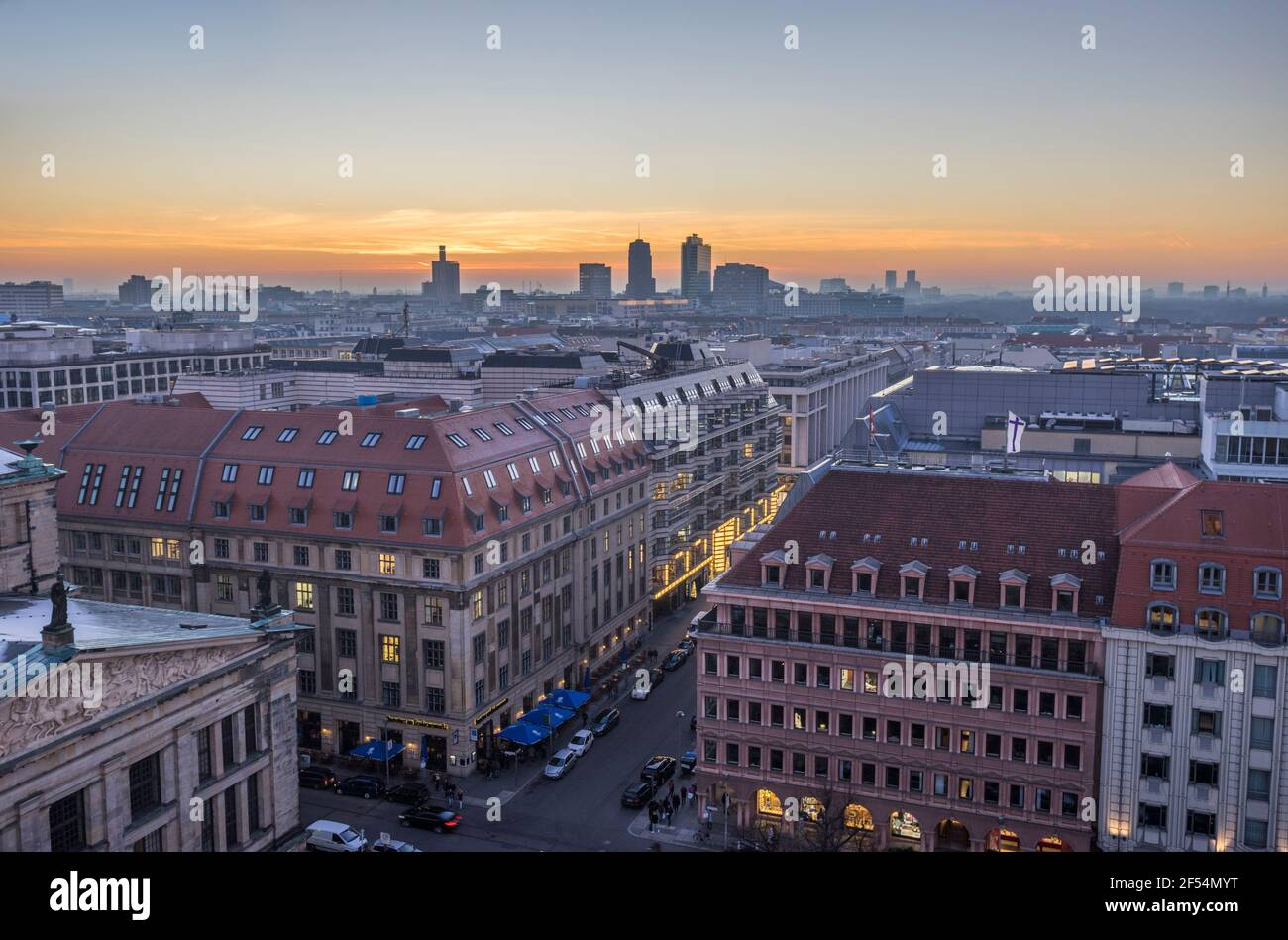 geography / travel, Germany, Berlin, Berlin skyline in the evening, Additional-Rights-Clearance-Info-Not-Available Stock Photo