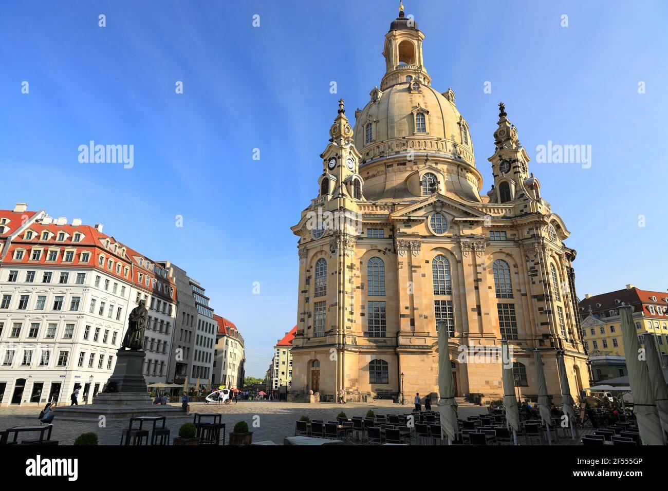 Lutheran church Frauenkirche in Dresden. Saxony, Germany, Europe. Stock Photo