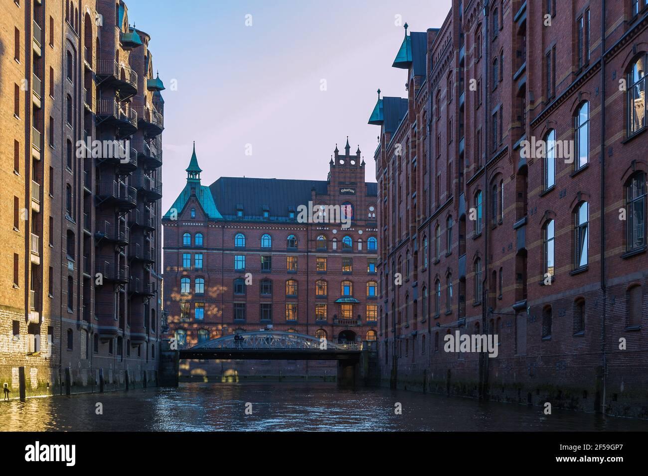 geography / travel, Germany, Hamburg, Speicherstadt, Sandtorkai (quay), Sandthorquaihof, Additional-Rights-Clearance-Info-Not-Available Stock Photo