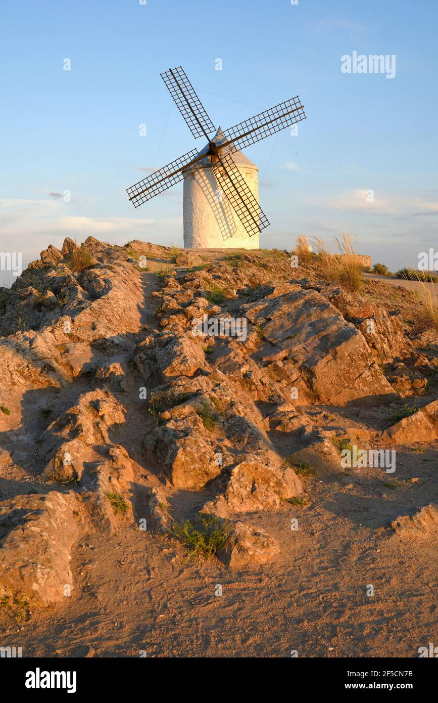 geography / travel, Spain, wind mill, Consuegra, province Toledo, Castile-La Mancha, Additional-Rights-Clearance-Info-Not-Available Stock Photo