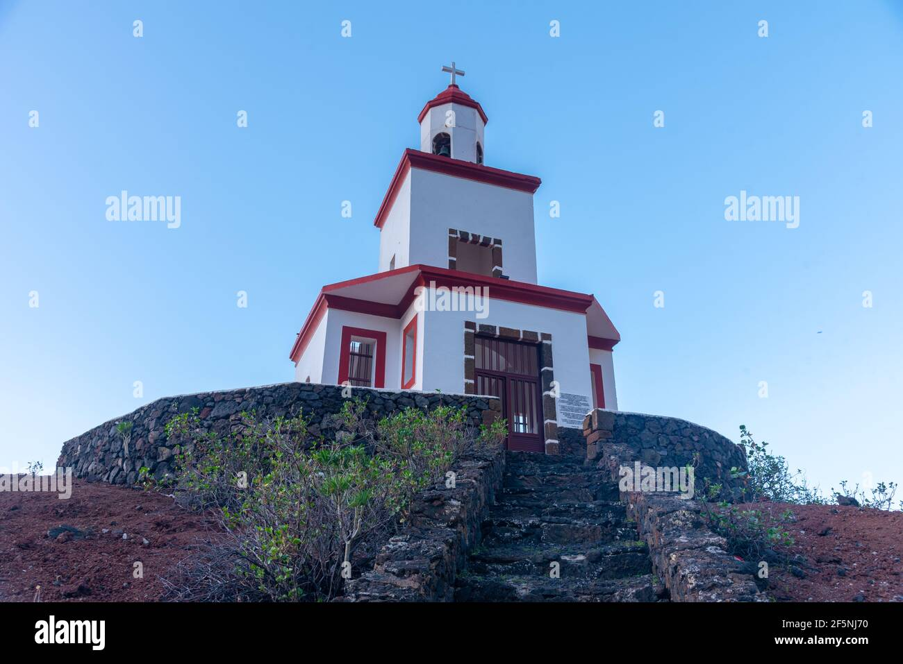 Bell tower above the Parish church of Nuestra Senora de Candelaria at La frontera at El Hierro, Canary islands, Spain. Stock Photo