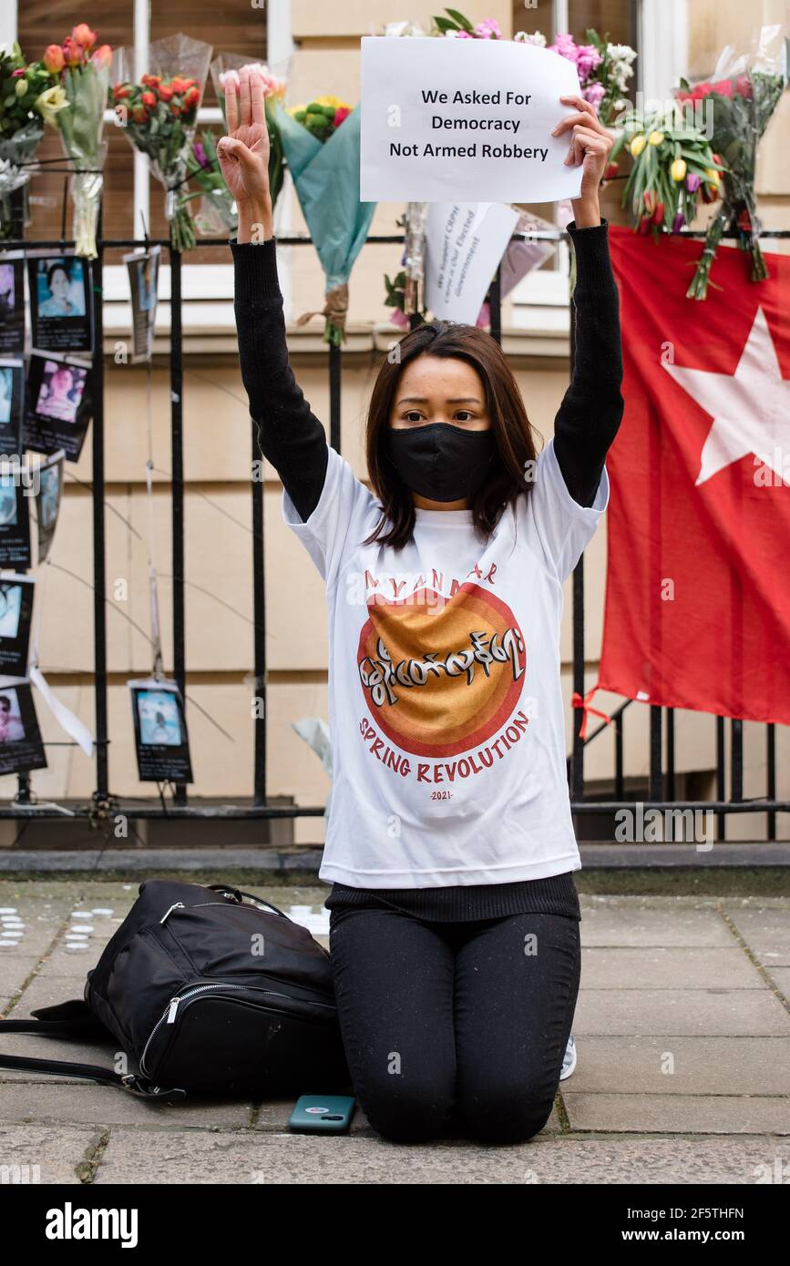 London, United Kingdom - March 27, 2021: March from Myanmar's Embassy to Parliament Square against military coup and release of Aung San Suu Kyi Stock Photo