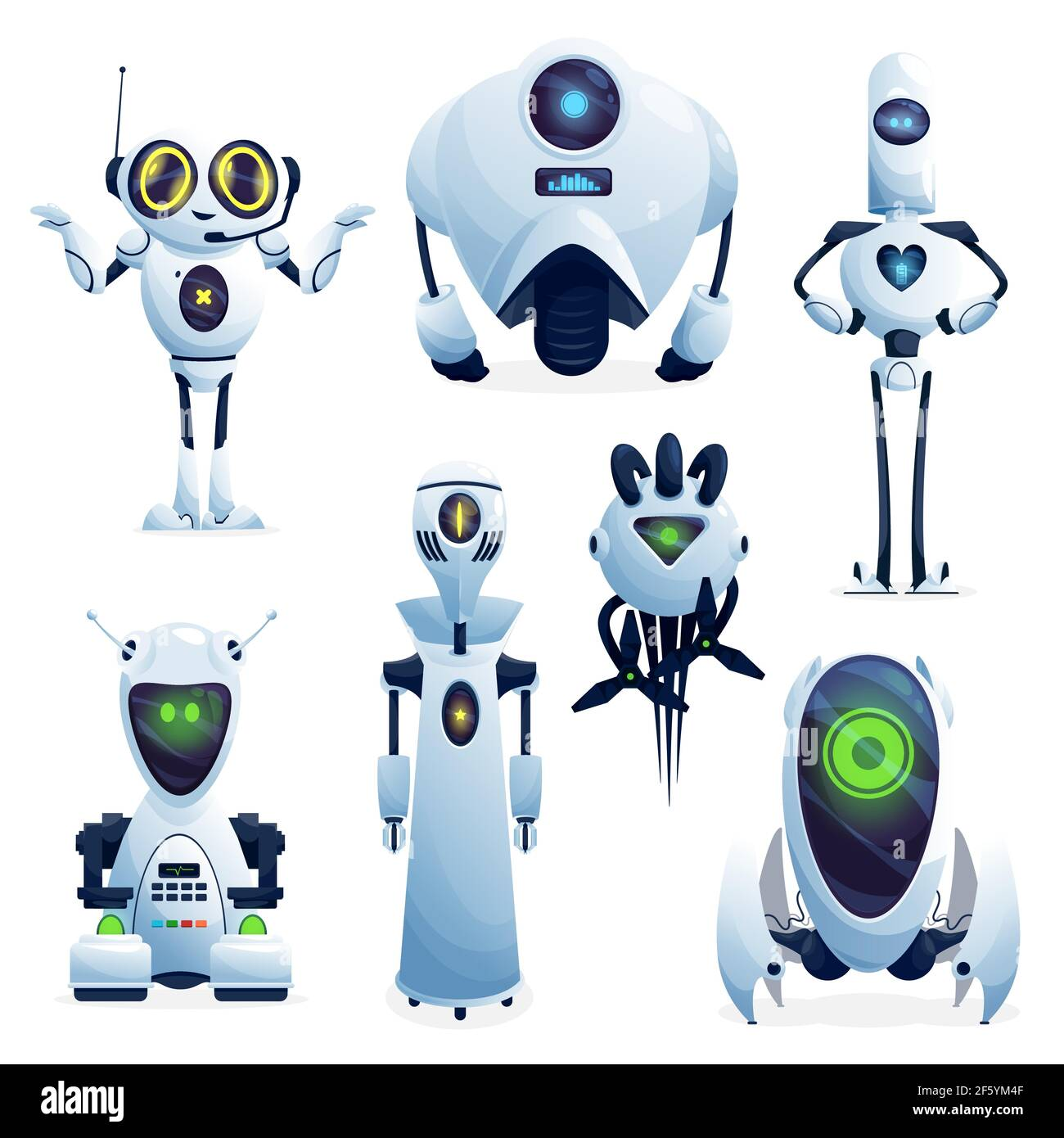 Cartoon robots, vector cyborg characters, toys or bots, artificial ...