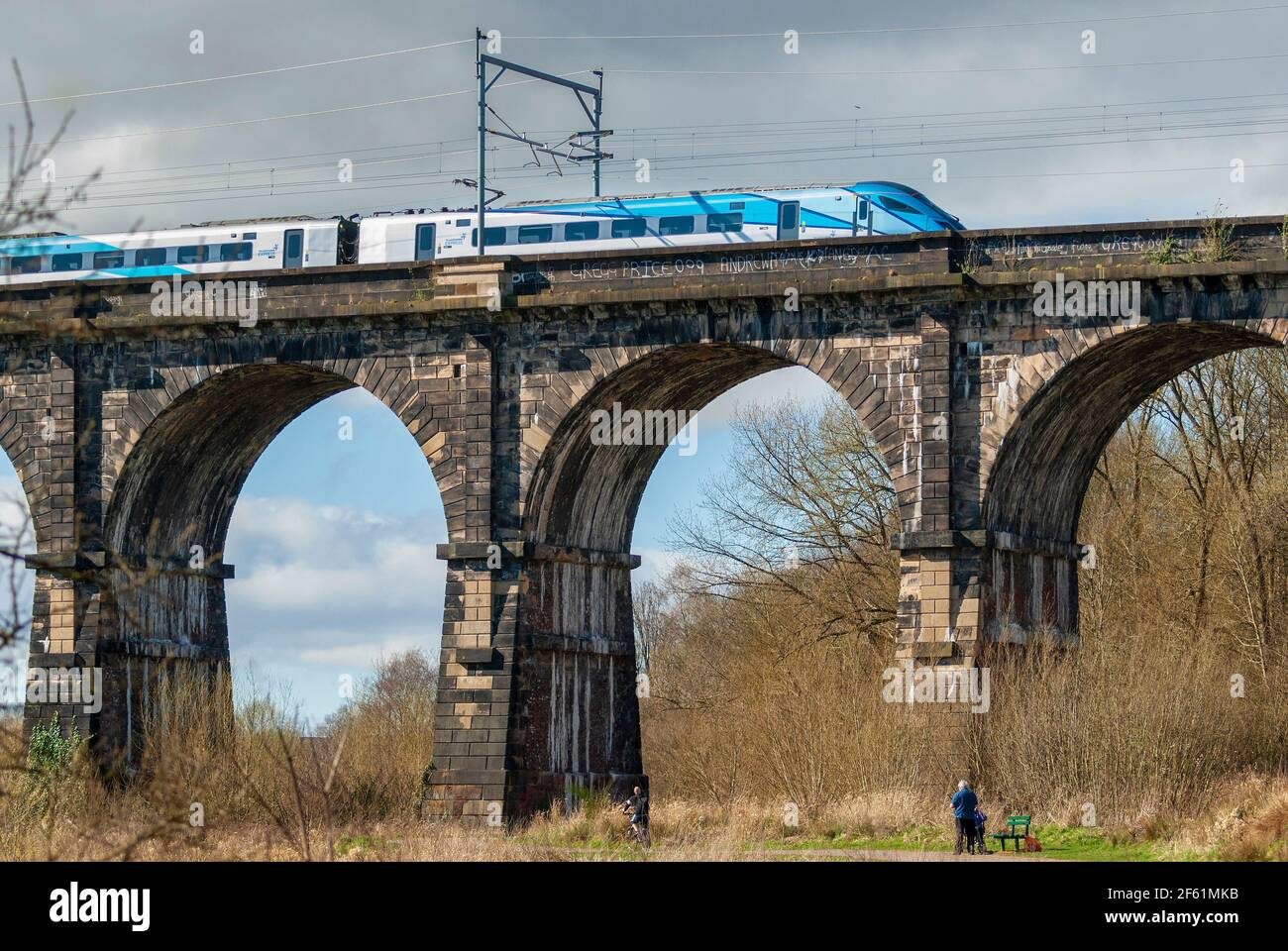 A TPE train crossing the Sankey viaduct at Earlestown over the Sankey Valley. Stock Photo