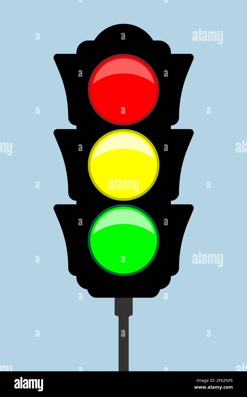 Traffic light - vector icon. Flat style. Vector illustration Stock Vector