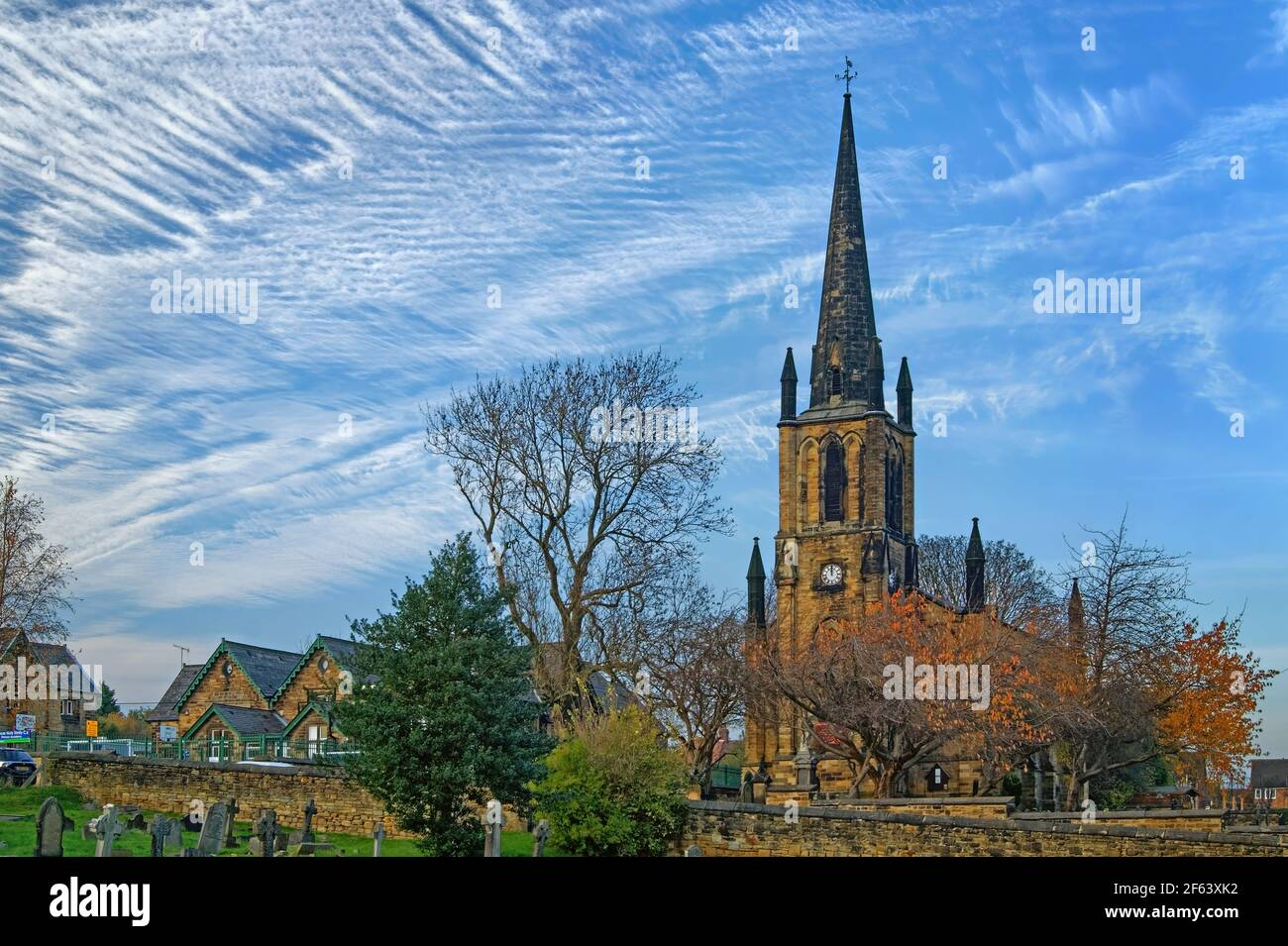 UK,South Yorkshire,Elsecar,Holy Trinity Parish Church in Autumn Stock Photo
