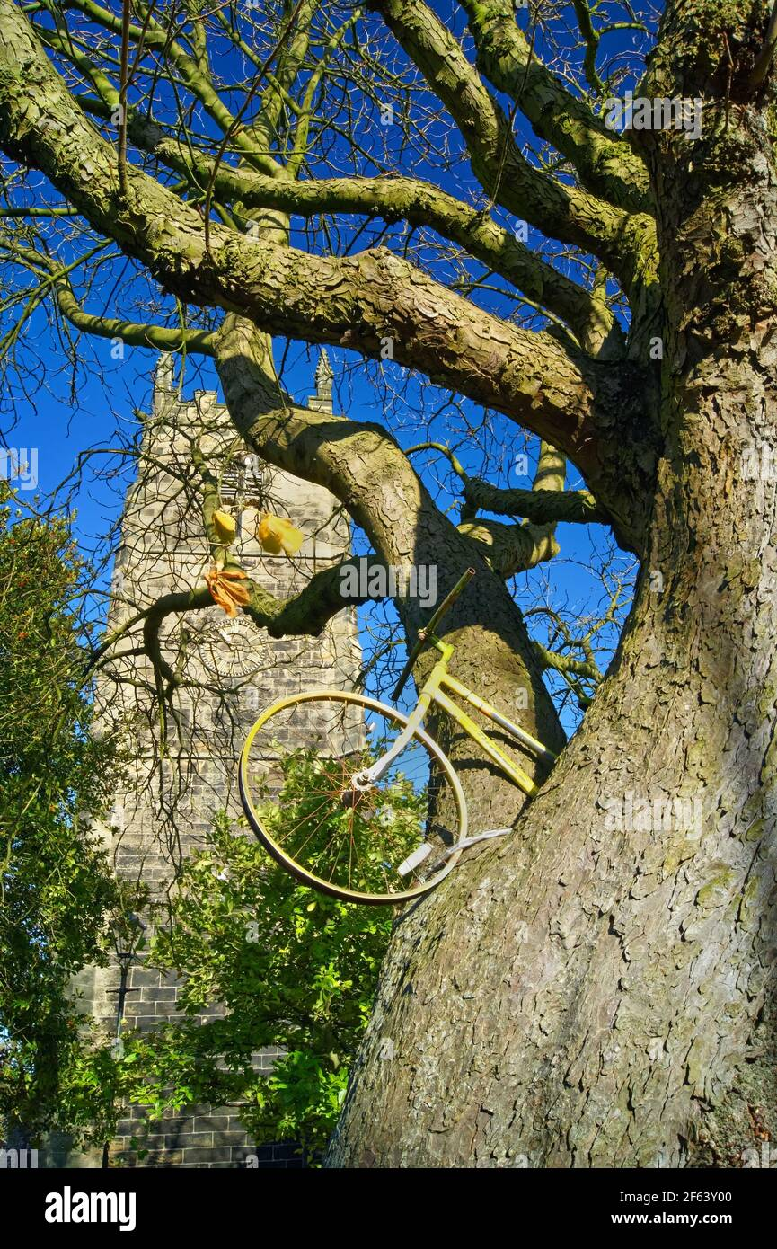 UK,South Yorkshire,Barnsley,Penistone,St John The Baptist Church and Tour De Yorkshire Bike Stock Photo