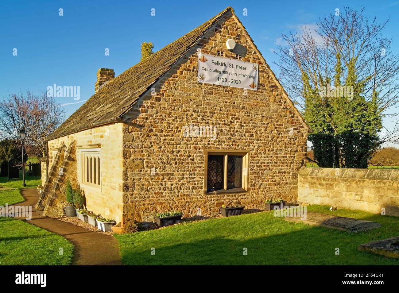 UK, West Yorkshire, Wakefield, Felkirk, St Peter's Church, Old School Room Stock Photo