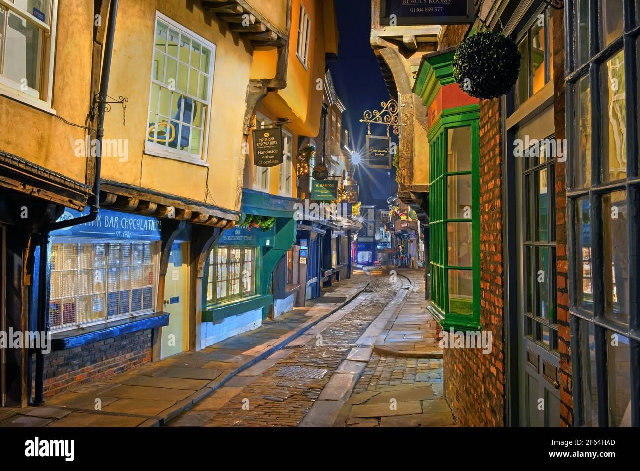UK,North Yorkshire,York,The Shambles at night Stock Photo