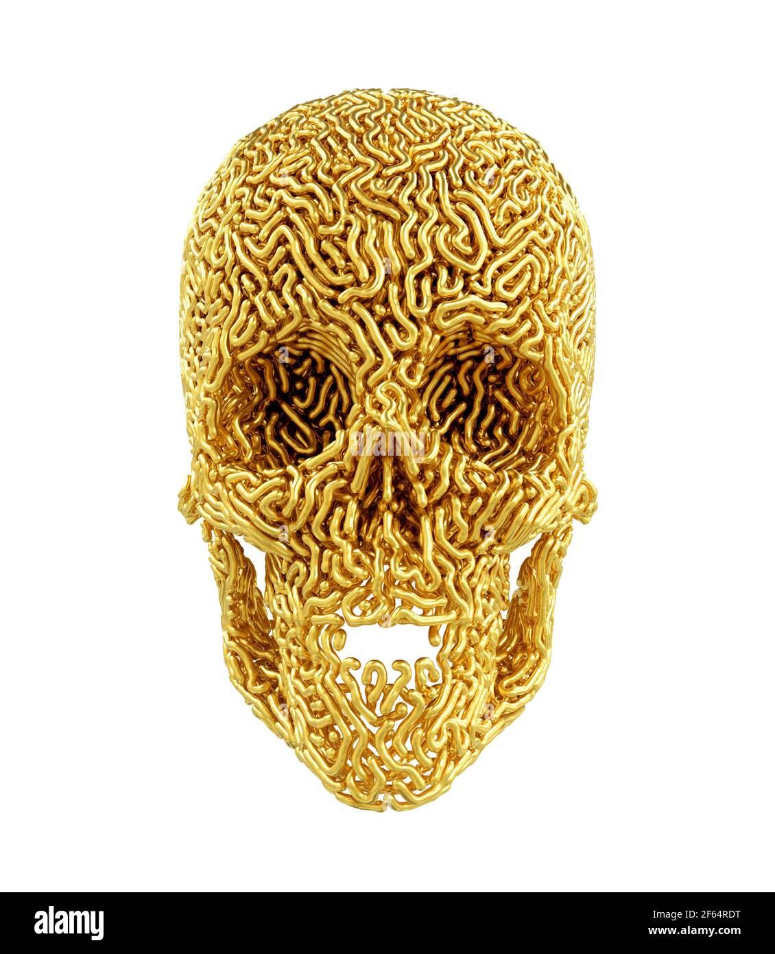 Golden Carved Skull On White Background Stock Photo