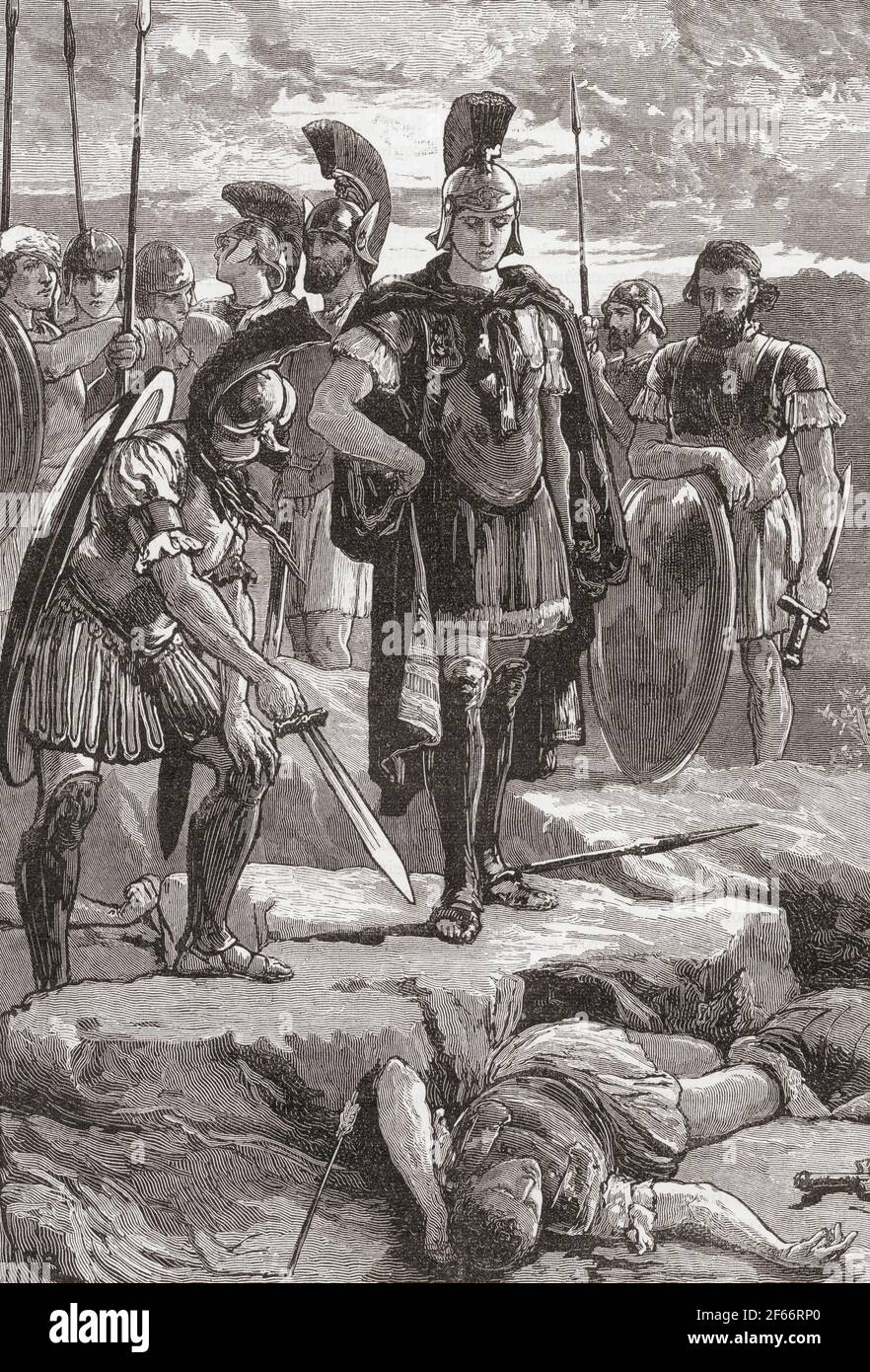 Alexander and the body of Daruis III.  Alexander III of Macedon, 20/21 July 356 BC – 10/11 June 323 BC, aka Alexander the Great.  King of the ancient Greek kingdom of Macedon. Darius III, c. 380 – 330 BC.  Last Achaemenid King of Kings of Persia.  From Cassell's Universal History, published 1888. Stock Photo