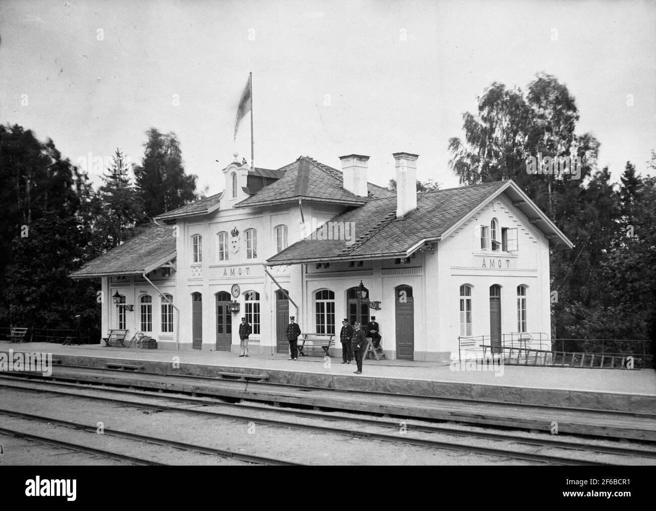 Åmot station, later Åmotors. Stock Photo