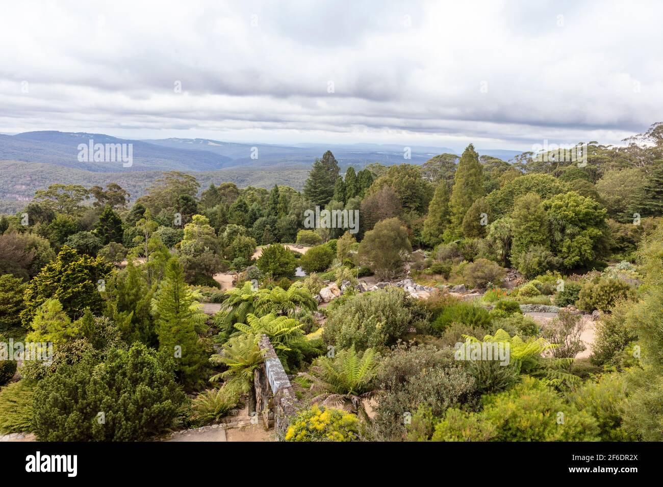 Scenic view of the the Blue Mountains at the Botanic Garden near Sydney, Australia. Stock Photo