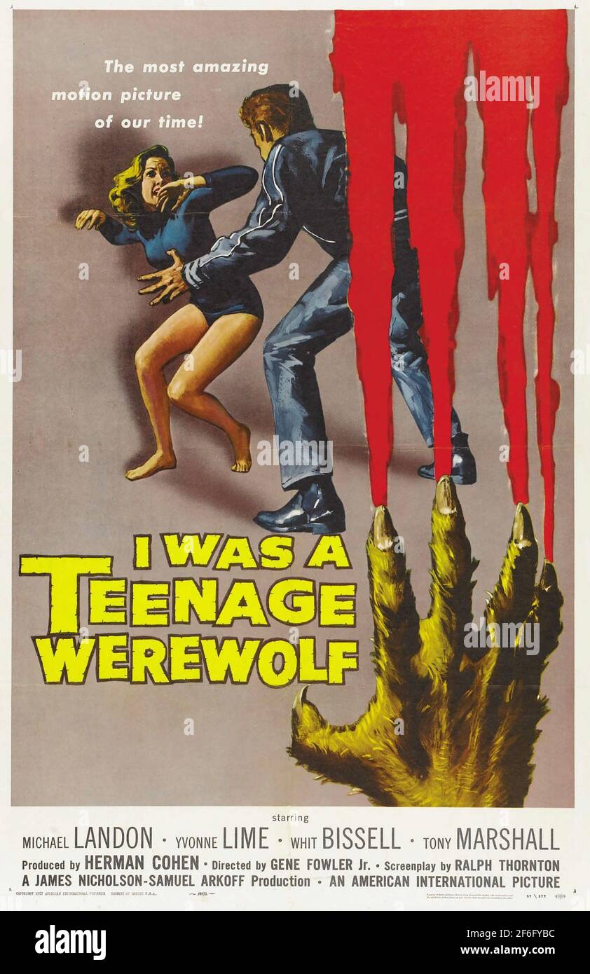 I WAS A TEENAGE WEREWOLF 1957 American International Pictures film.Poster by Reynold Brown. Stock Photo