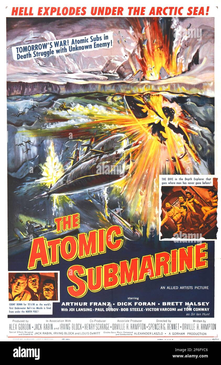 THE ATOMIC SUBMARINE 1959 Allied Artists/Warner Bros film. Poster by Reynold Brown Stock Photo