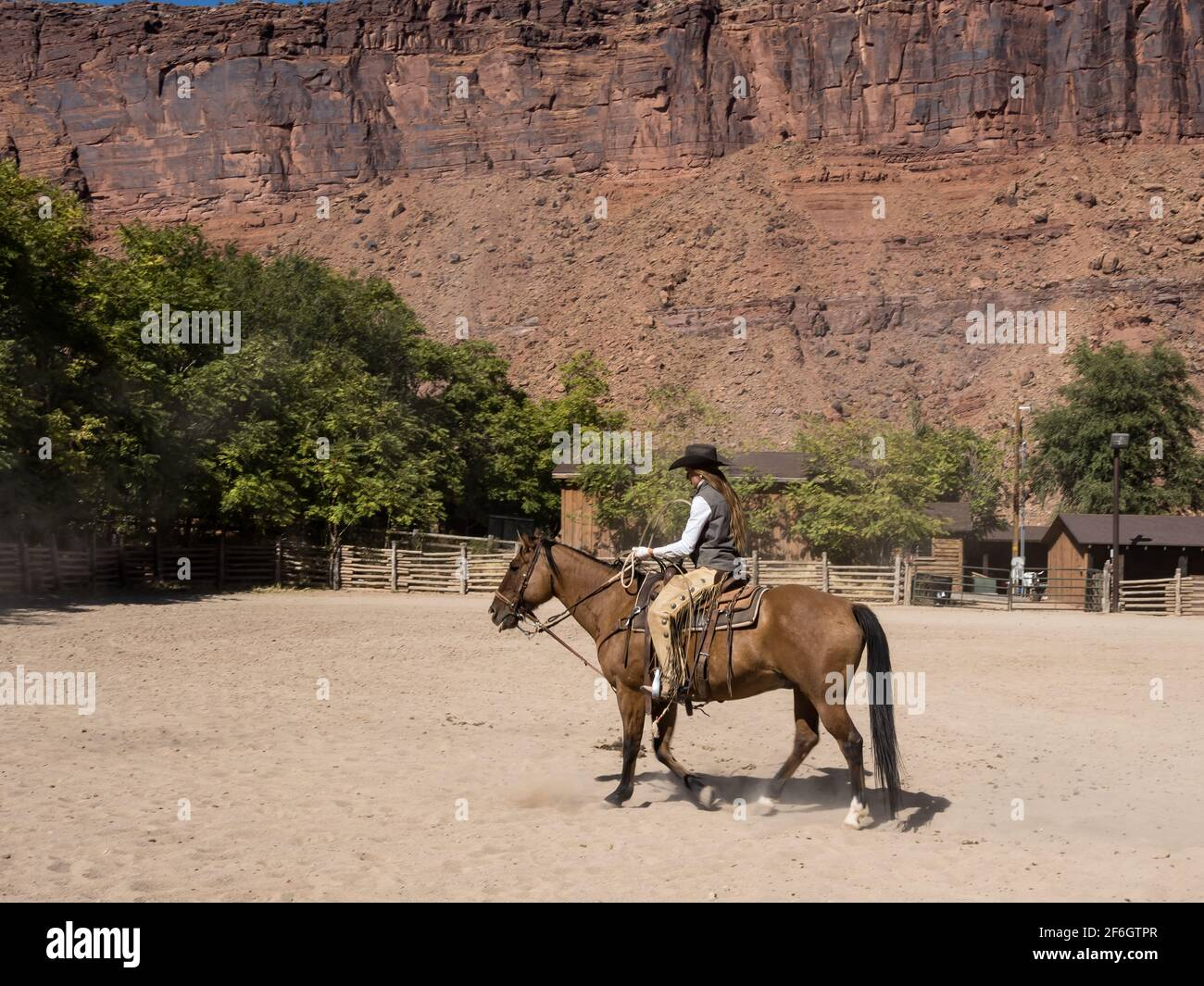 A cowgirl wrangler riding her horse in a corral on a ranch near Moab, Utah.  She wears leather chaps to protect her legs from thorny brush on the rang Stock Photo