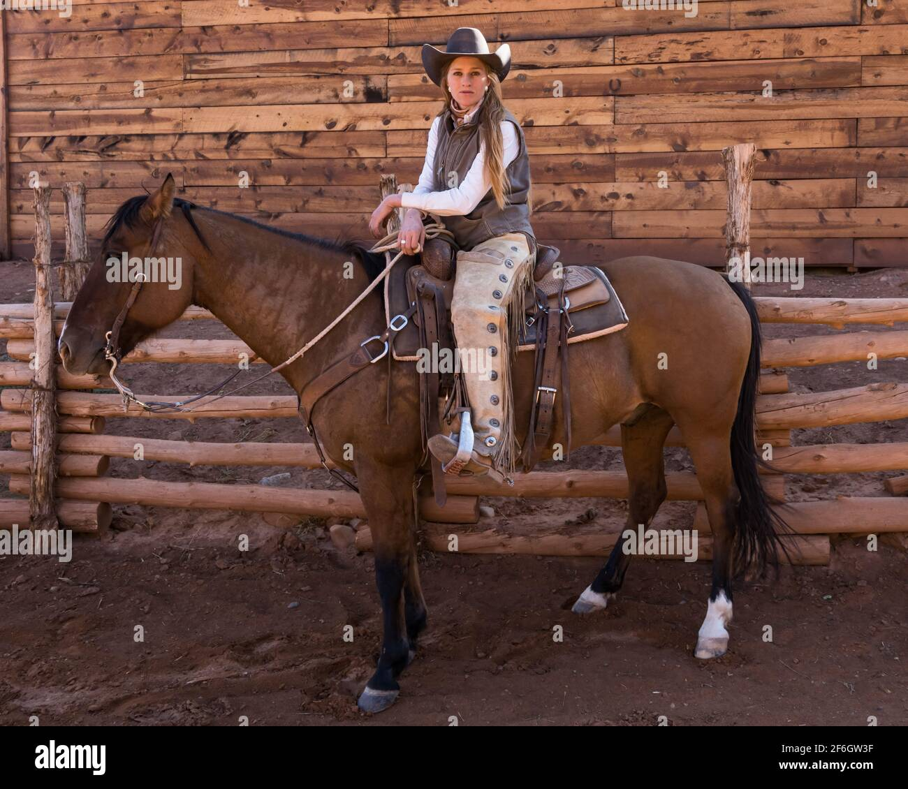A young attractive working cowgirl wrangler poses on her horse on a ranch near Moab, Utah.  She wears leather chaps to protect her from thorny brush w Stock Photo