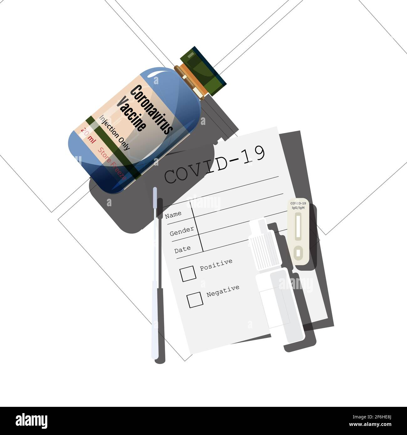 COVID-19 test kit and vaccince - vector illustration Stock Photo