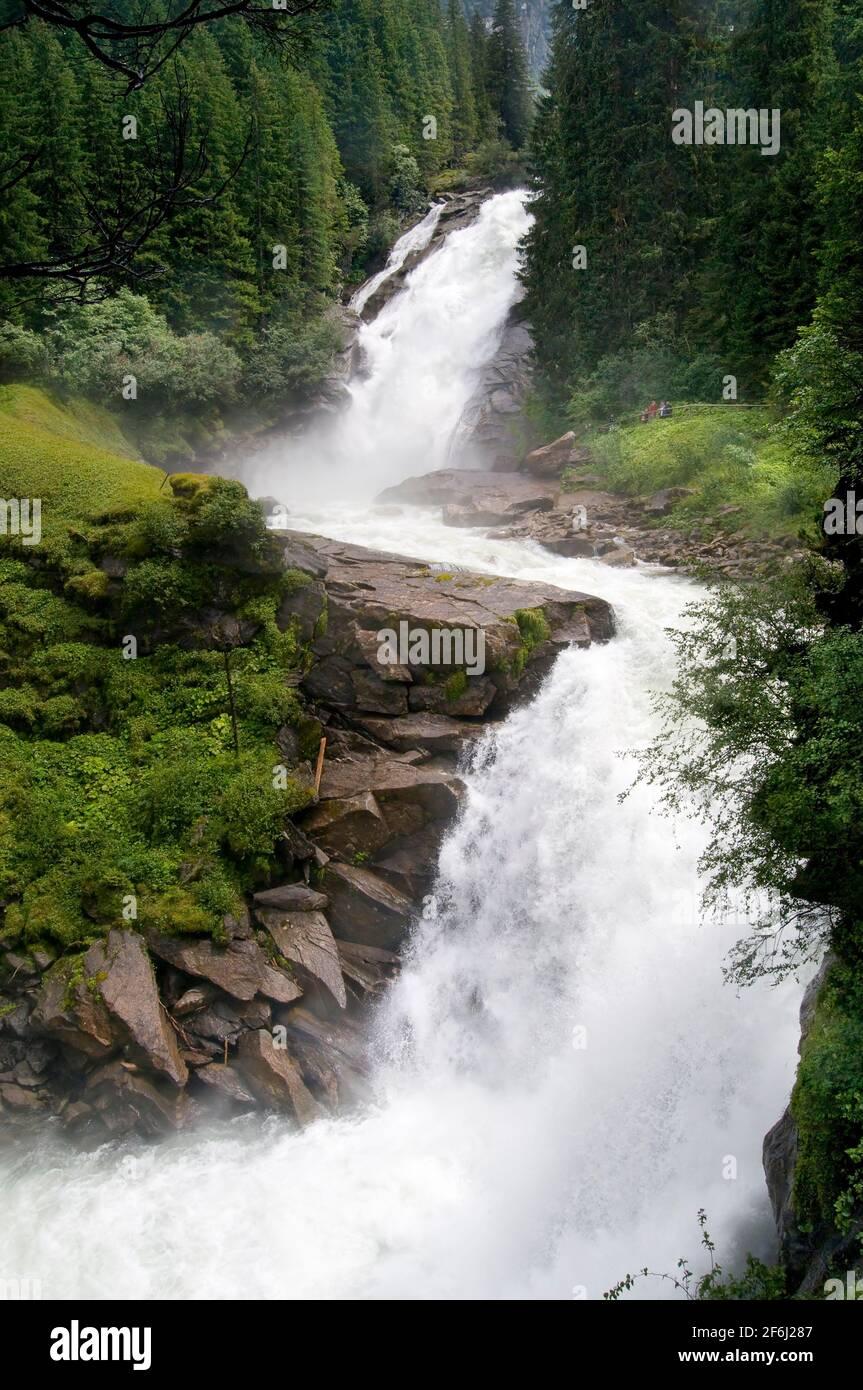 Krimml Falls In High Tauern National Park in Salzburg Austria Stock Photo