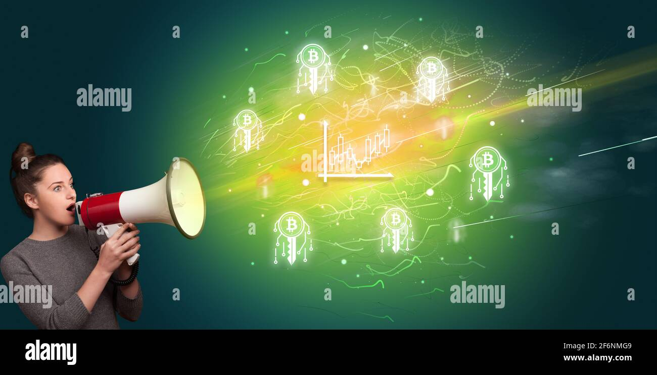 Young person with megaphone and currency icon Stock Photo