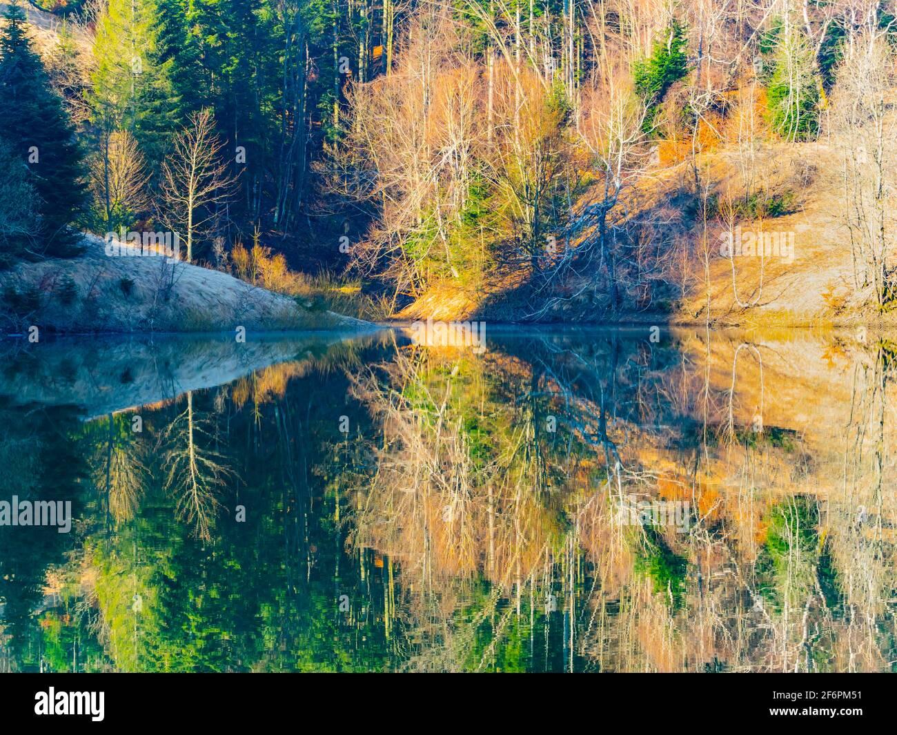 Zen zen splendid gorgeous vibrant colors idyllic remarkable appealing Lokve lake in Croatia Europe Stock Photo