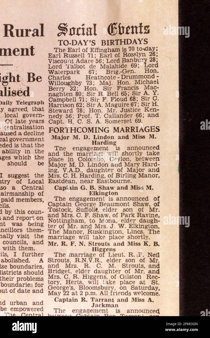 Social Events column including birthdays and forthcoming marriages in the Daily Telegraph (replica), 18th May '43, the day after the Dam Busters raid. Stock Photo