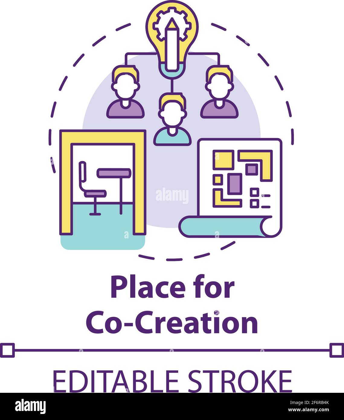 Place for co-creation concept icon Stock Vector
