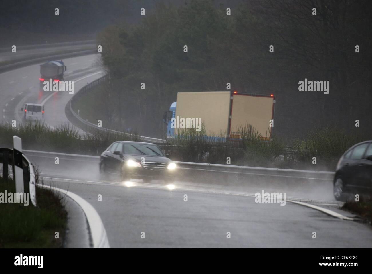 Rain slicked motorway in Germany. Stock Photo
