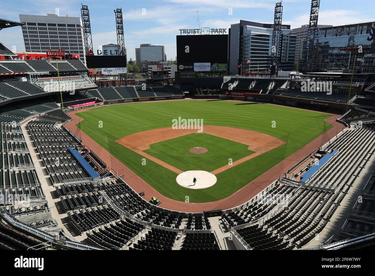 Atlanta, USA. 01st Apr, 2020. Truist Park on April 1, 2020, in Atlanta. In response to Georgia's new voting law, Major League Baseball announced that it will move it's All-Star Game from the park. (Photo by Curtis Compton/Atlanta Journal-Constitution/TNS/Sipa USA) Credit: Sipa USA/Alamy Live News Stock Photo