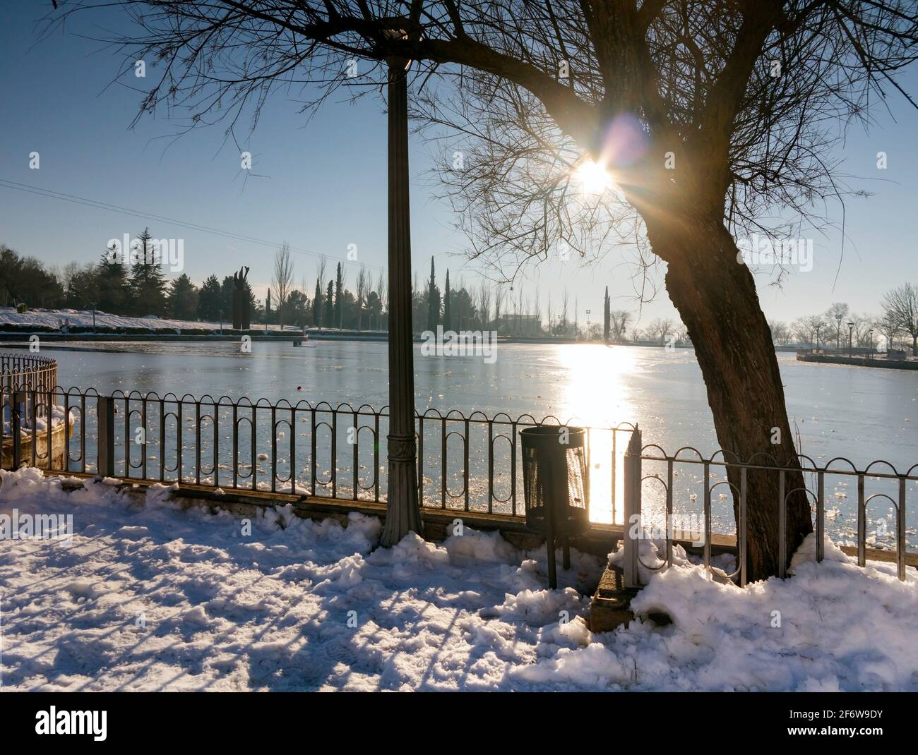 Snow and ice on the pool of Juan Carlo I park in Pinto. Madrid. Spain. Europe. Stock Photo