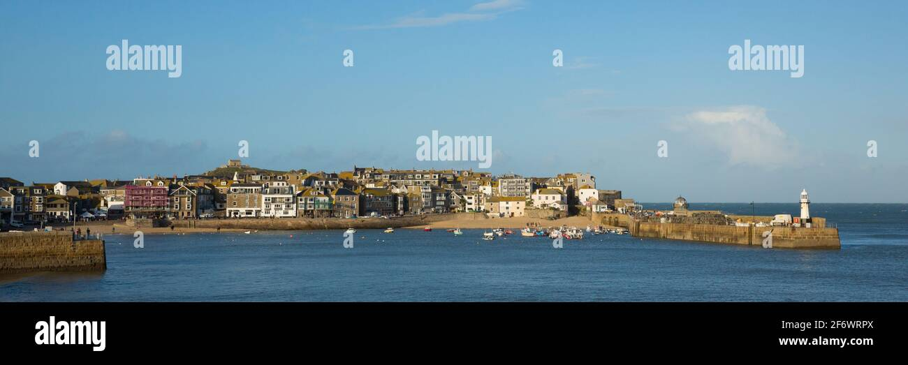St Ives Cornwall harbour popular travel destination in UK panoramic view Stock Photo
