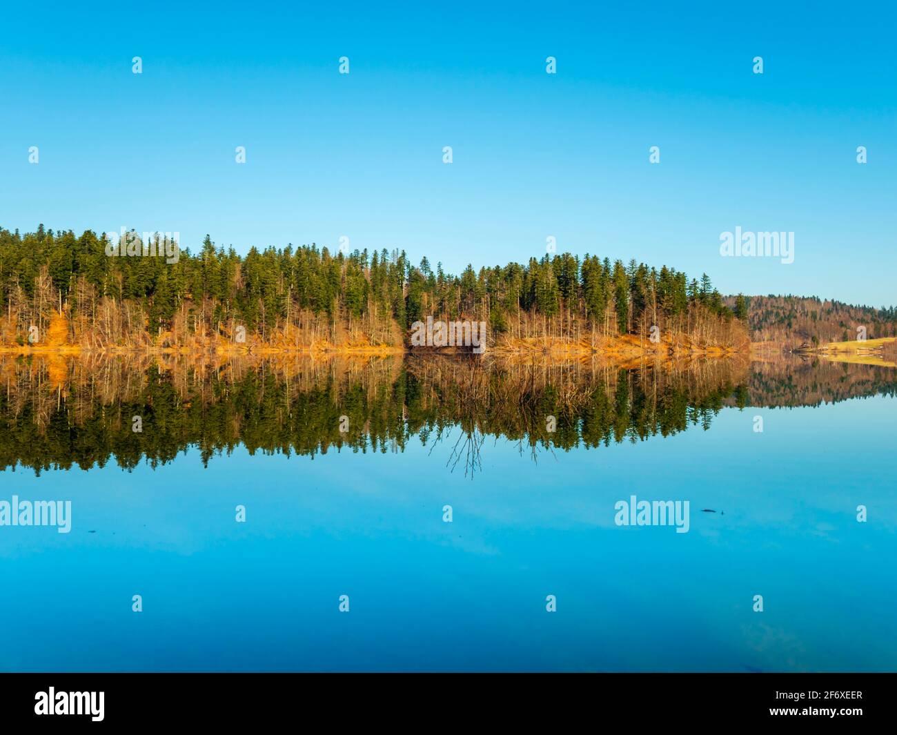 Zen feeling in Lokve lake in Croatia Europe Stock Photo