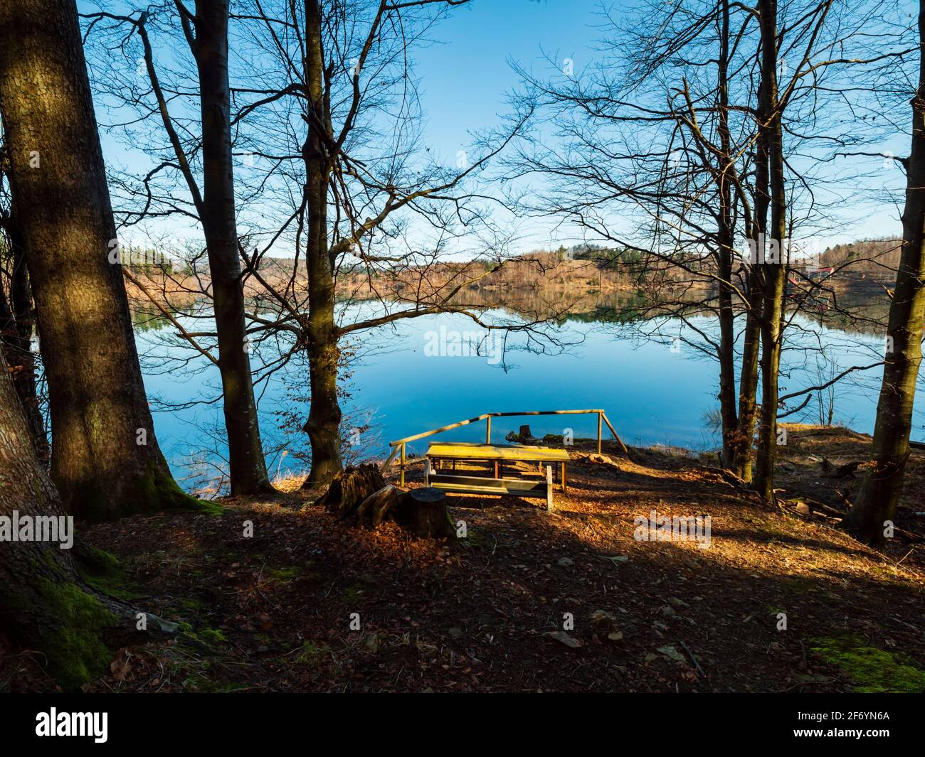 Picturesque peaceful tranquility zen on Lokve lake in Croatia Europe Stock Photo
