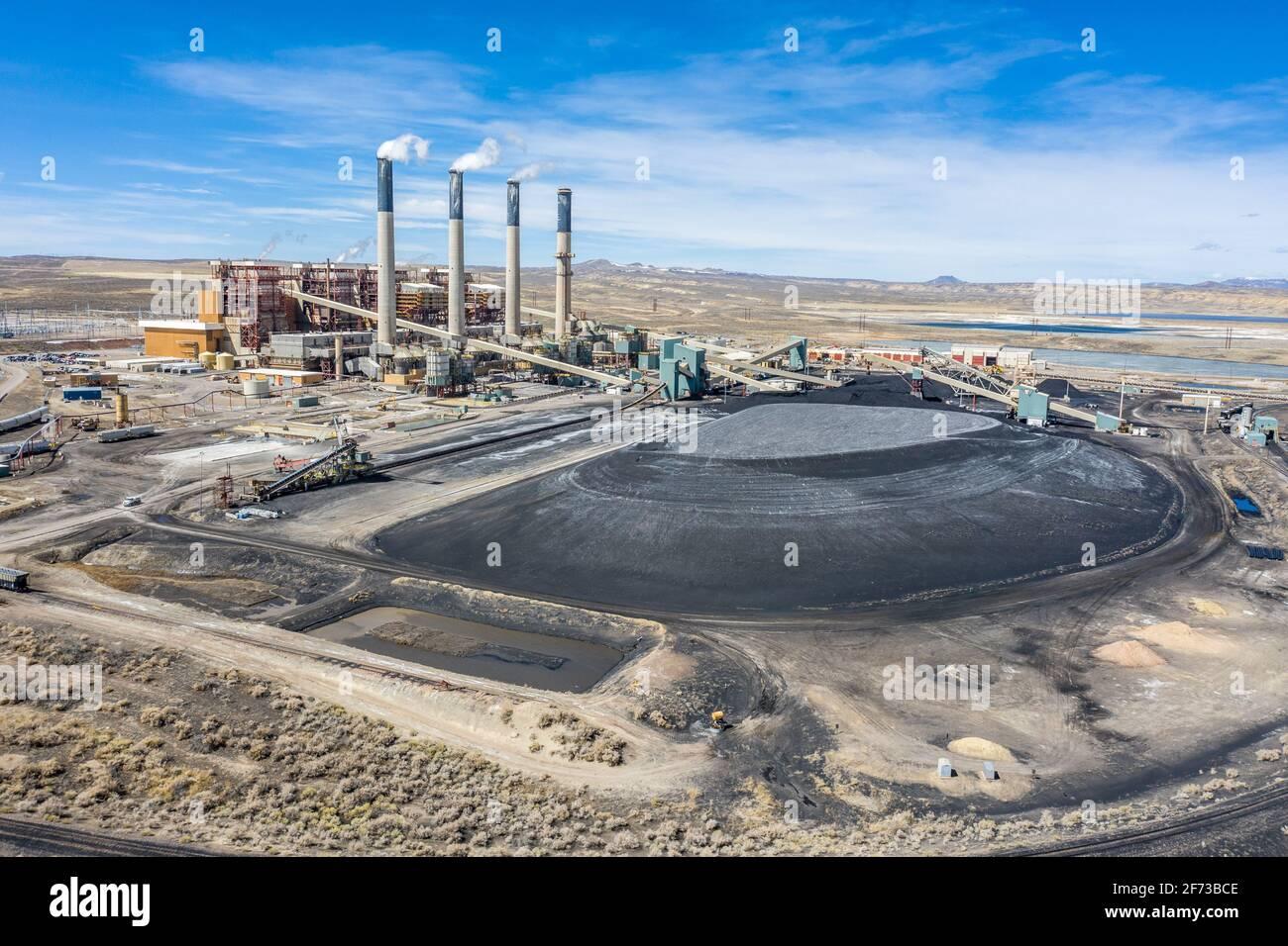 Jim Bridger Power Plant, coal powered, Point of Rocks, Wyoming, USA Stock Photo