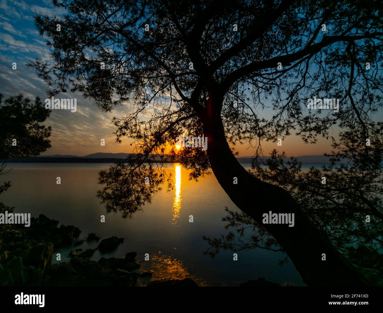 Calm calmness surface quiet long exposure Malinska on Krk island in Croatia Europe Stock Photo