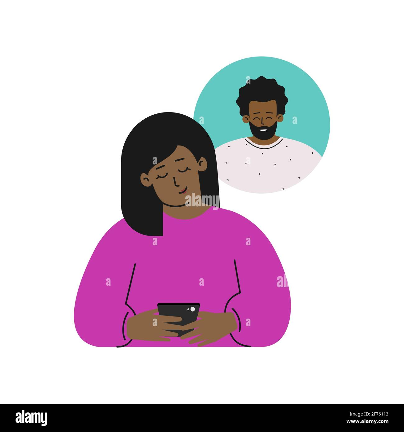 Vector isolated flat concept. Cartoon happy african american woman sends message on phone to his boyfriend. Online dating by apps in gadget. Relations Stock Vector