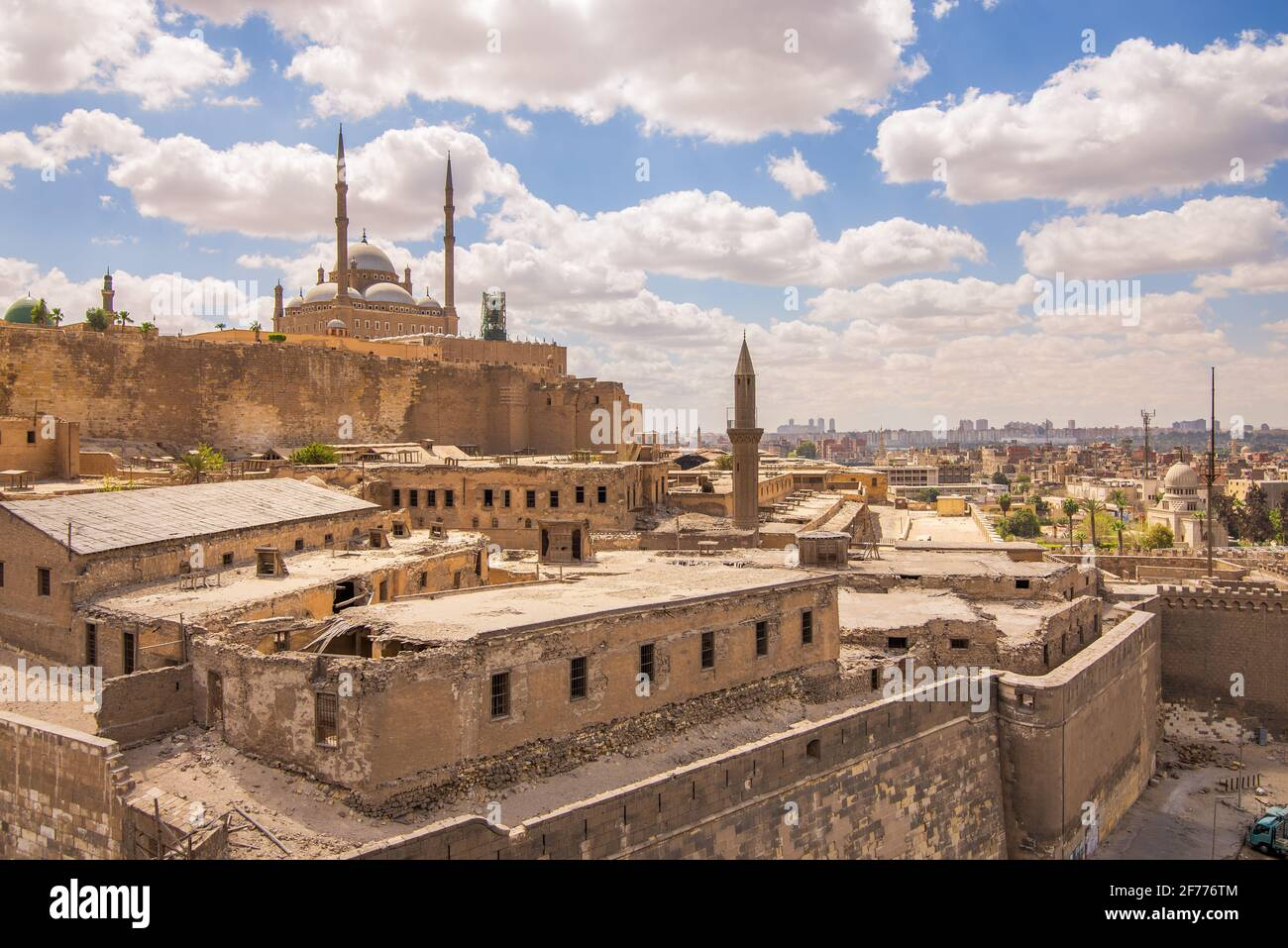 Day shot of Great Mosque of Muhammad Ali Pasha - Alabaster Mosque - located in the Citadel of Cairo in Egypt, commissioned by Muhammad Ali Pasha, one of the landmarks and tourist attractions of Cairo Stock Photo