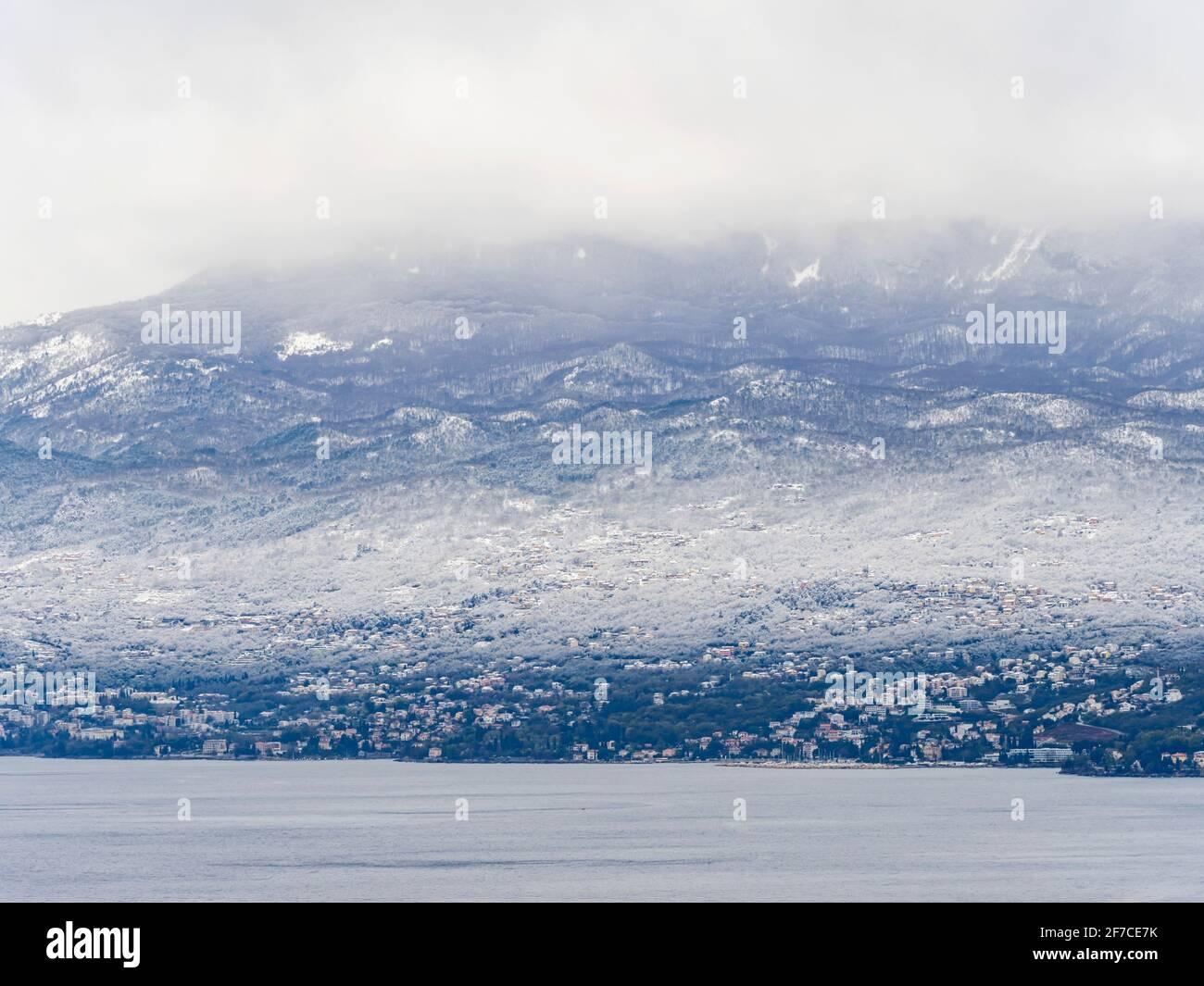 Early Spring snow on Ucka mountain Kvarner bay Rijeka Opatija in Croatia Europe Stock Photo
