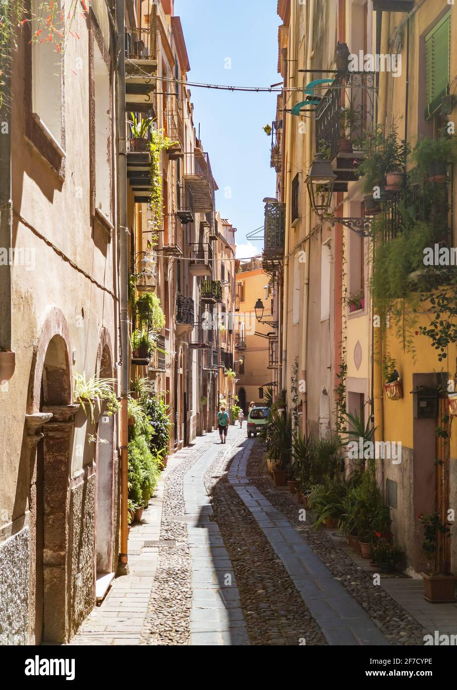 Bosa (Sardinia, Italy) - A view of the touristic and charming colorful old town in the marine coast of Oristano, one of the most beautiful on Sardegna Stock Photo