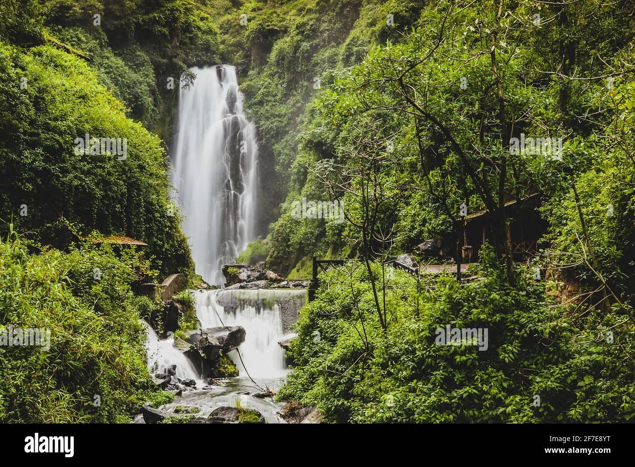 Cascadas de peguche,.A small waterfall in a lush green environmnent in Ecuador, close to Otavalo. Stock Photo